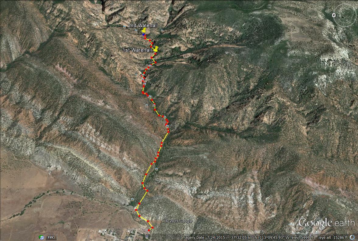 Kanarra Falls trail map