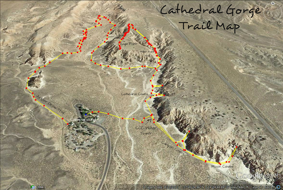 Cathedral Gorge State Park Trails Map