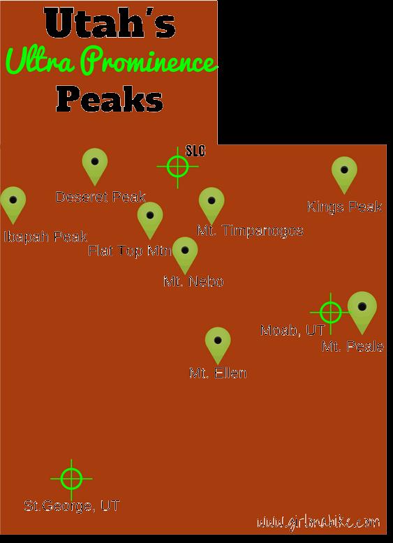 Map of Utah's 8 Ultra Prominence Peaks