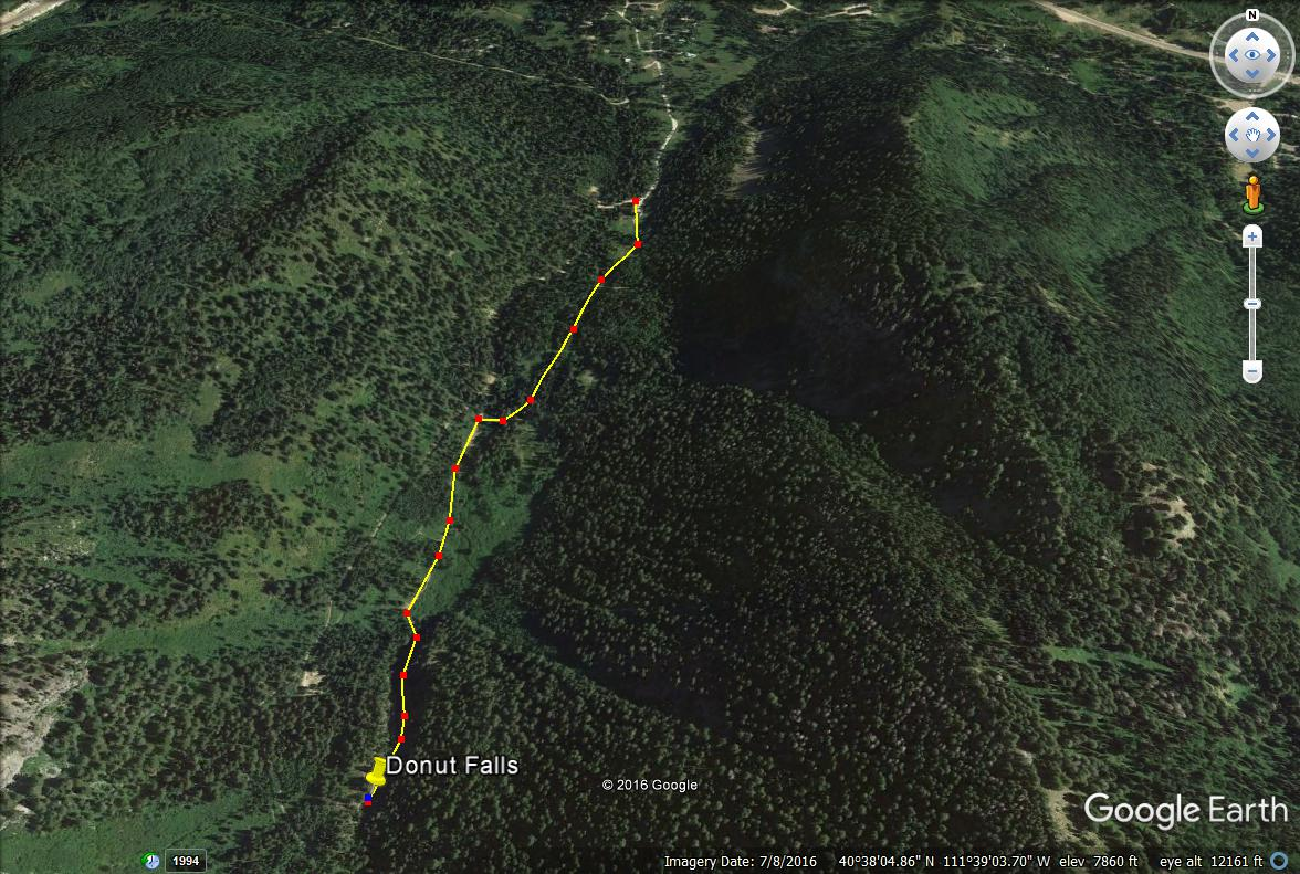 Hiking to Donut Falls trail map