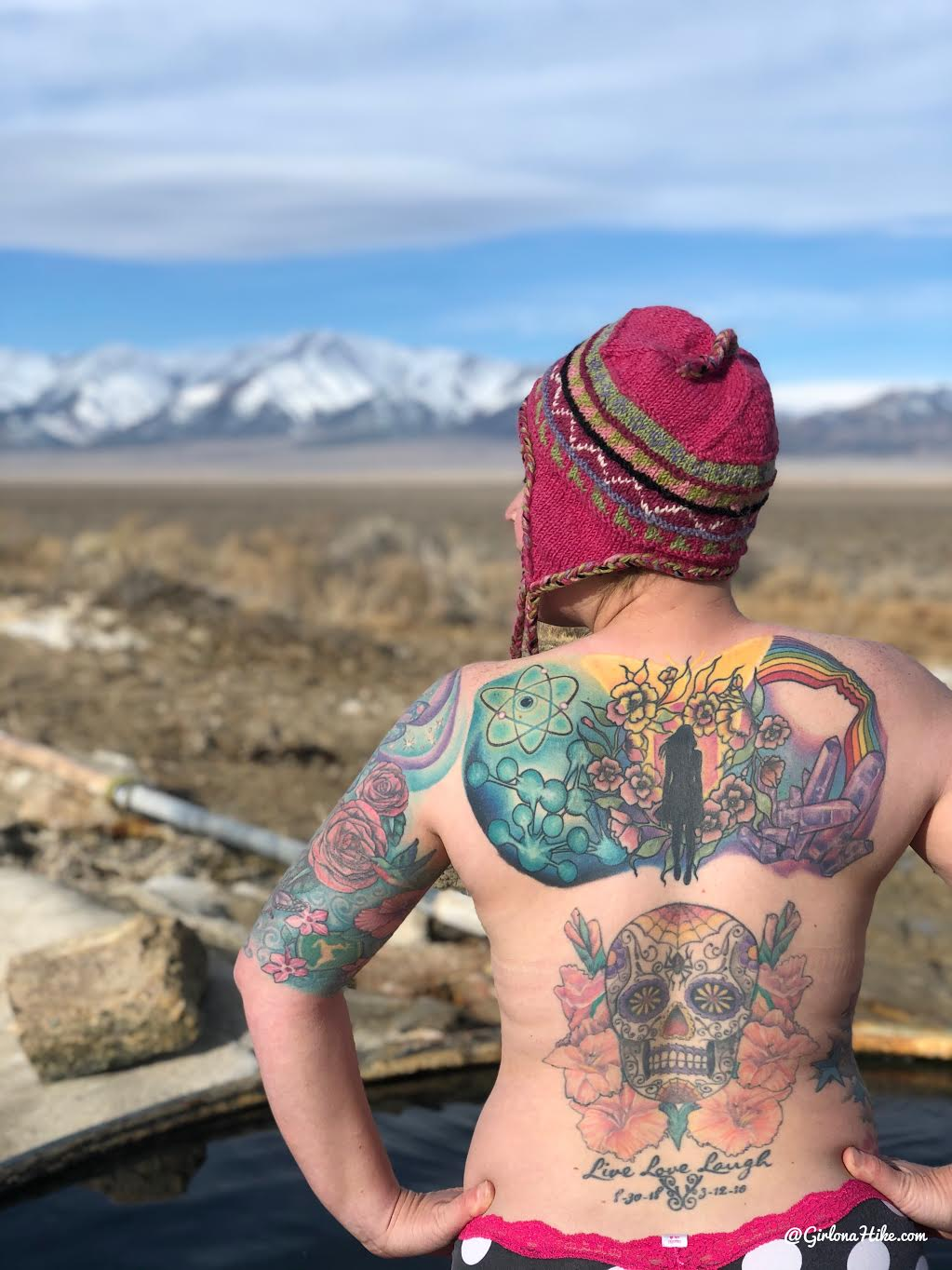 Soaking at Spencer Hot Springs, Nevada