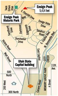 Ensign Peak trail map, Utah